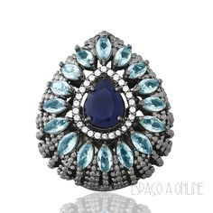Anel 39 Grande Com Pedras Azul Marinho e Agua Marinha Folheado Rodio Negro Semi…
