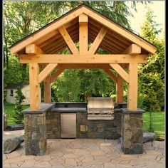 Outdoor Living - Outdoor Rooms - Outdoor Kitchens - Click image to find more DIY… Living Pool, Outdoor Living Rooms, Outside Living, Outdoor Spaces, Outdoor Kitchens, Outdoor Decor, Rustic Outdoor, Outdoor Grill, Outdoor Cooking