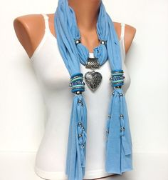 jewelry scarf with heart pendant
