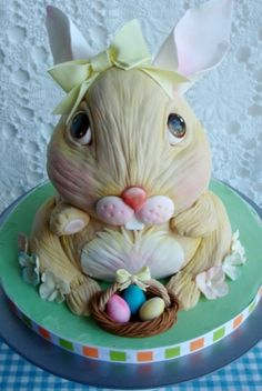 """Sweet Bunny"" Easter cake by designer Cathy Campbell, owner of the Cake Whisperer in Ottawa, Canada...."