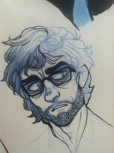 This is a drawing of Will Graham from the TV series Hannibal. Original link here: http://kinomatika.tumblr.com/post/54384665984