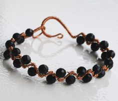 Ornamental Blue Sandstone Copper Wire Wrapped Gemstone Zigzag Cuff Bracelet