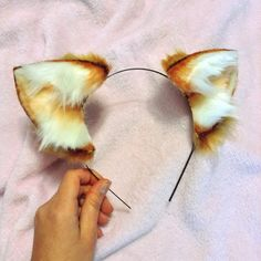 Short Caramel Realistic Cat Sized Ears by Hoshiikins on Etsy