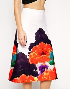 Enlarge ASOS Aline Skirt with Border Print