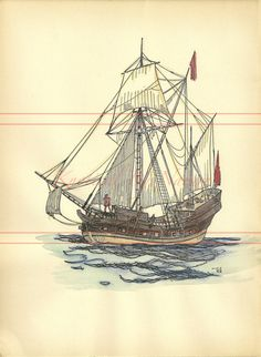 Hand-Painted Vintage Ship Book Page