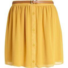 River Island Yellow button through belted mini skirt (810 RUB) ❤ liked on Polyvore featuring skirts, mini skirts, bottoms, saias, faldas, sale, transparent skirt, sheer overlay skirt, yellow waist belt and overlay skirt