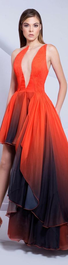 Tarek Sinno ~ Couture Deep Neckline high-low Maxi Dress 2015