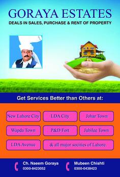 we deal in all kind of properties in lahore pakistan Regards: ch. naeem goraya 03008423052