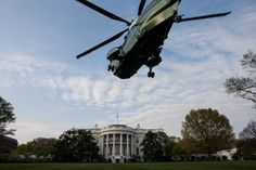 "A helicopter from the HMX-1 ""Nighthawks"" squadron comes in for a practice landing on the South Lawn of the White House, March 30, 2012."