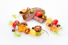 Dry Aged Striploin of Beef with Olive Poached Tomatoes & Roasted Pepper Sauce #FearringtonVillage #FearringtonHouse