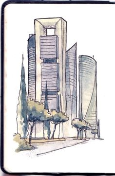 Madrid Skycrappers Quick sketch made live with pencil, watercolor and ink. Architecture Concept Drawings, Roof Architecture, Creative Pictures, Art Pictures, Urban Sketchers, Sketch Design, Art Challenge, Art Sketchbook, Watercolor And Ink