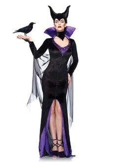 Leg Avenue Disney 3Pc.Maleficent Dress Stay Up Collar and Head Piece, Black, Small