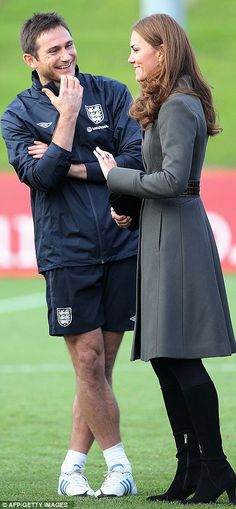 Play time: Kate meets Frank Lampard at the 330 acre site, where 12 new pitches were unveiled today