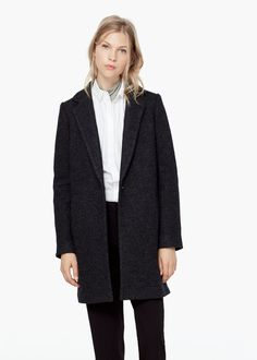Bouclé wool coat - Coats for Women | MANGO