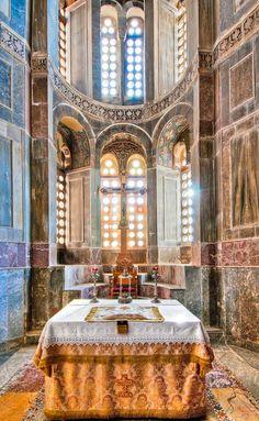 Altar in monastery of Hosios Lukas, Greece
