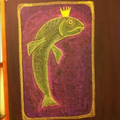 Waldorf ~ 1st grade ~ Letter: F ~ The Fisherman and his Wife ~ chalkboard drawing