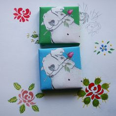 Canvas Mini Block Sleeping Terrier with Rose 2