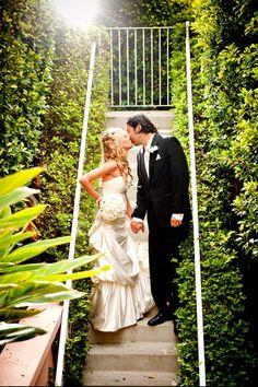 Bride and Groom- Garden Steps at La Valencia Hotel in La Jolla, CA