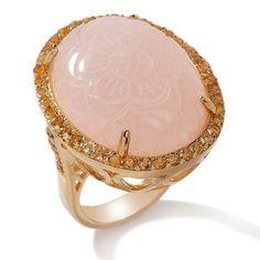 Bounkit Boutique Bronze Carved Rose quartz has carved floral  & Citrine Ring Sz9 #BounkitBoutique #SolitairewithSideAccent