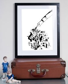 black ink ...Illustration art giclée print Signed by Tomek Wawer #poster #black #pen