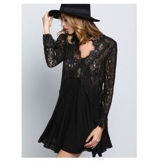 Black Lace Low Cut Short Dress