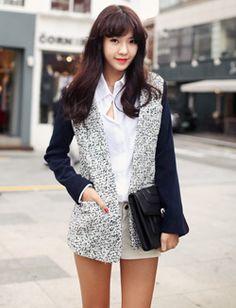 navy blue sleeves + black & white dots coat