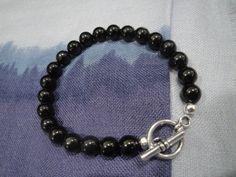 8 Jet gemstone bracelet. by InnerGems on Etsy