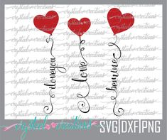 Valentine Day Love, Valentine Crafts, Valentines Hearts, Silhouette Cameo Projects, Silhouette Design, Silhouette Files, Image Font, Heart Balloons, Cricut Tutorials