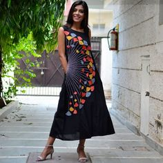 Black Multicolour Embroidered Dress with Asymmetric Neckline & Pockets - Rustorange Simple Kurti Designs, Kurti Neck Designs, Kurta Designs Women, Stylish Dress Designs, Kurti Designs Party Wear, Designs For Dresses, Blouse Designs, Stylish Dresses, Fashion Dresses