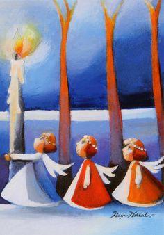 Raija Nokkala Norman, Finland, Martini, Postcards, Artists, Illustration, Painting, January 2, Cards