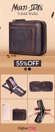 76565b4644364 RFID Antimagnetic Vintage Genuine Leather 13 Card Slots Coin Bag Trifold  Wallet For Men sales at a wholesale price. Come to Newchic to buy a wallet