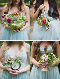 something different - fairytale inspired bridesmaids bouquets made of vintage pieces!