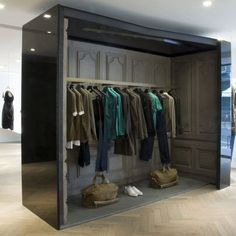 Givenchy Store by Jamie Fobert--- This pop-up design, with perhaps an overhead door or slider-- a chic simple box can provide all you need for a kiosk/pop-up store within a store/pop-up display! Simple is good! PopUp Republic
