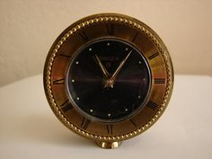SWIZA 8, Solid Brass, Wind Up, Travel Alarm Clock, Art Deco, Petite, Luminous Hands, Vintage
