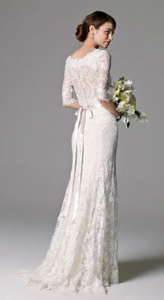 lace back wedding gown with sleeves 'Riviera' by Watters #Wedding #dress #coupon code nicesup123 gets 25% off at Skinception.com