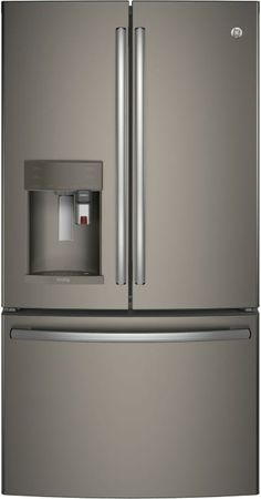 GE PFE28PMKES 36 Inch French Door Refrigerator with 27.8 cu. ft. Capacity, Keurig K-Cup System, WiFi Connect, 4 Adjustable Glass Shelves, Drop Down Tray, TwinChill, Ice and Water Dispenser, ADA Compliant, Sabbath Mode and Energy Star Rated: Slate