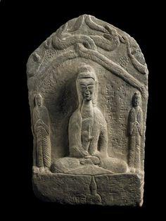 Triade bouddho-taoïste avec inscription