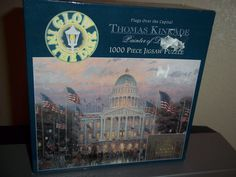 Thomas Kinkade Flags Over Capital 1000 Piece Jigsaw Puzzle Glow in the Dark #Ceaco