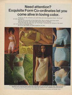 1969 Exquisite Form Vintage Ad - Bra Panties Slips In Group Color Coordinates Vintage Girdle, Vintage Bra, Vintage Underwear, 1950s Fashion Women, Native Girls, Lingerie Catalog, Gorgeous Lingerie, Retro Lingerie, Retro Images