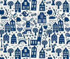Cityscape Fabric - Delft City By Bora Holland Netherlands Europe Canal Indigo on White Landmark - Cotton Fabric By The Metre by Spoonflower Delft, Textile Patterns, Textile Design, Fabric Design, Textiles, Stoff Design, Amsterdam, Sgraffito, Pretty Patterns