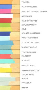 colors used by Jane Coslick for her Tybee Island, GA beach cottages
