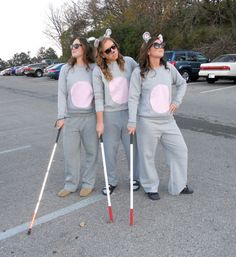 DIY three blind mice Halloween costumes! Can't beat this.