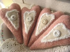 hearts made from a wooly blanket