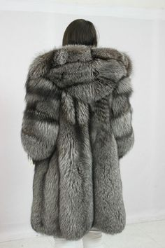 silver fox fur parka
