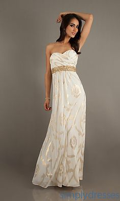 THEY HAVE THIS IN BLUSH TOO. Floor Length Strapless Sweetheart Print Dress at SimplyDresses.com