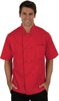 Basic Fit Short Sleeve Chef Coat - Knotted Cloth Buttons - 100% Cotton