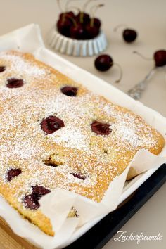 Juicy cherry cake - quick, easy and delicious! Cherry Cake, Raspberry Cake, Funny Cake, Cakes And More, No Bake Desserts, Vanilla Cake, Nutella, Cheesecake, Good Food