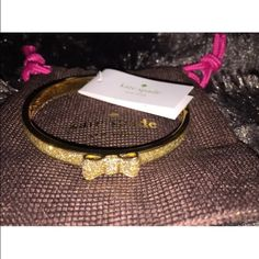 Kate Spade Take a Bow Gold Glitter Bangle Kate Spade Take a bow Glitter Bangle    Gold O0RU1197 New with Tag and dust bag  100% Authentic  Gold-tone hardware Glittter design kate spade Jewelry Bracelets