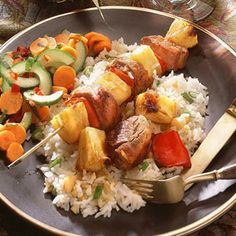 Pork-and-Pineapple Kebabs | MyRecipes.com #MyPlate #protein #vegetable #fruit