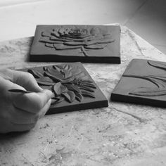 Carving the master relief in clay ceram tile, clay tiles, carv tile, polymer clay